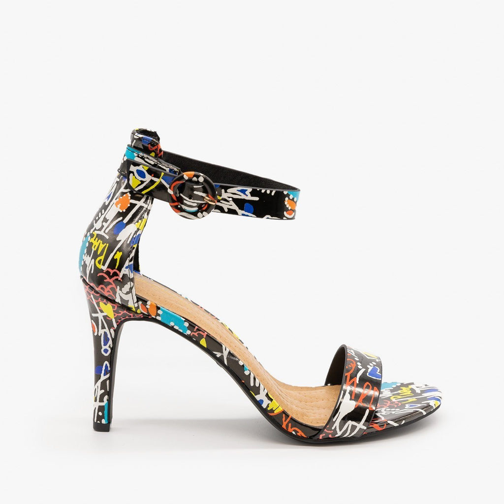 Womens Multi-Print Ankle Strap High Heels - Anne Michelle - Black Multi / 5