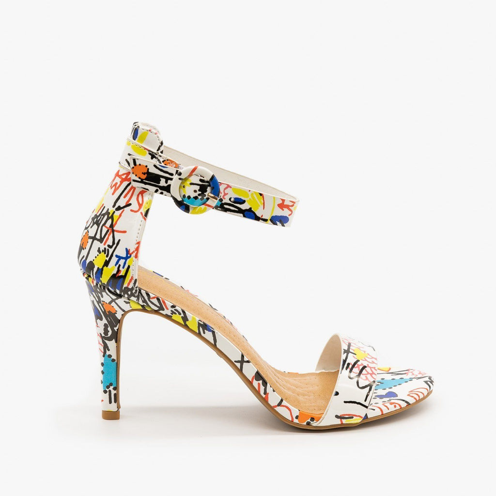 Womens Multi-Print Ankle Strap High Heels - Anne Michelle - White Multi / 5