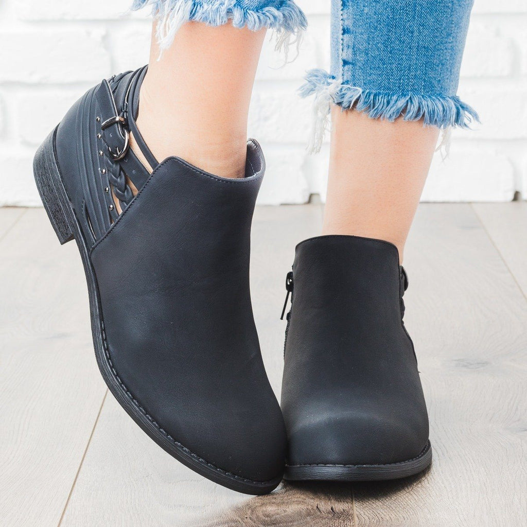 Womens Multi Strap Detail Bootie - Soda Shoes