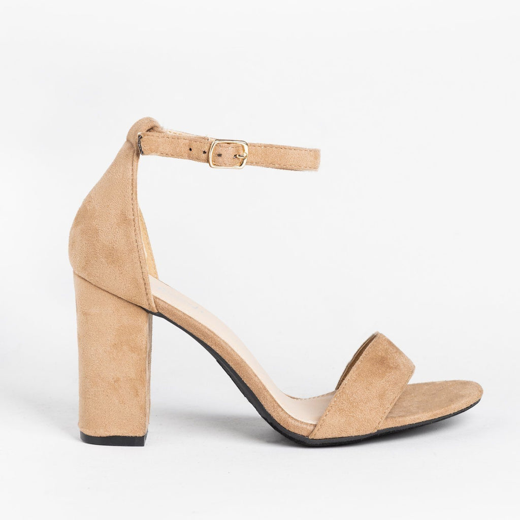 Womens Must-Have Open Toe High Heels - Refresh - Taupe / 5