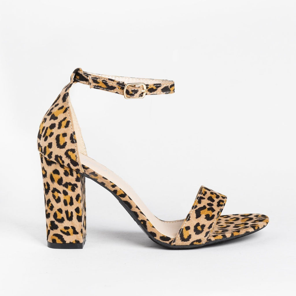 Womens Must-Have Open Toe High Heels - Refresh - Leopard / 5