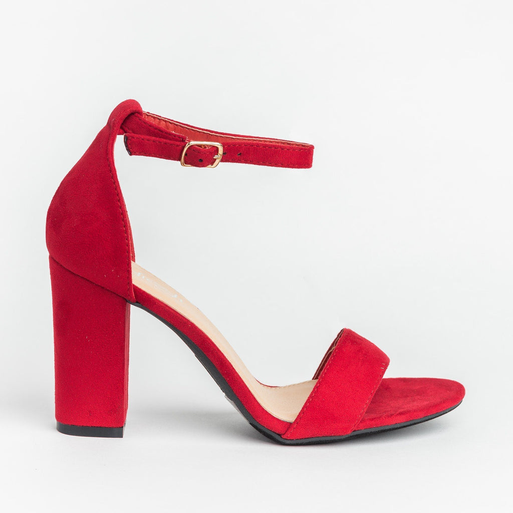 Womens Must-Have Open Toe High Heels - Refresh - Red / 5
