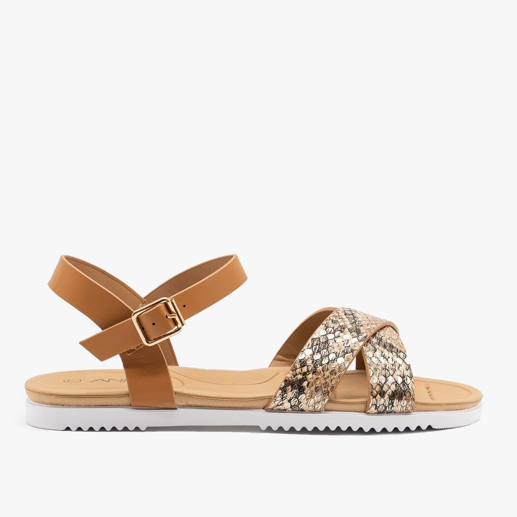 Womens Natural Snake Slingback Sandals - Anna Shoes - Snake / 5
