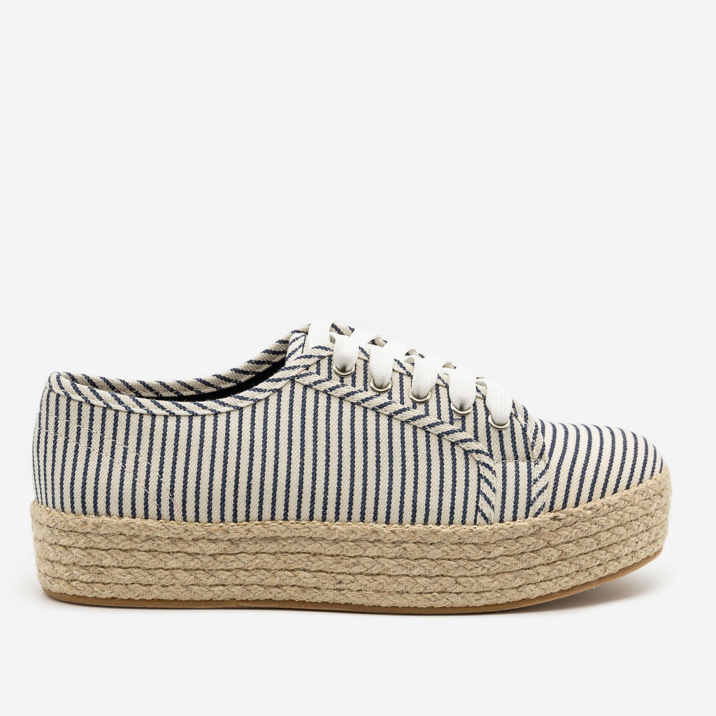 Women's Nautical Espadrille Platform Sneakers - Bamboo Shoes - Navy Stripes / 5