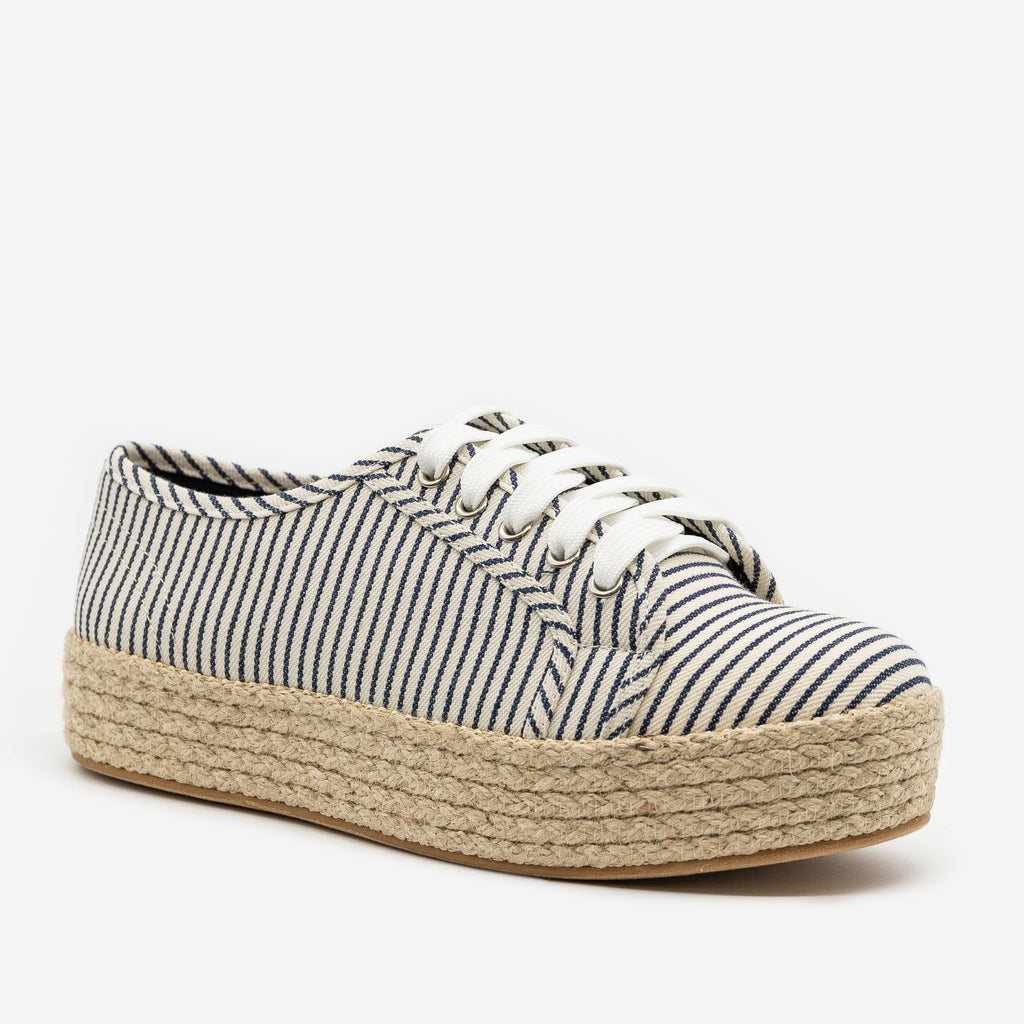 Women's Nautical Espadrille Platform Sneakers - Bamboo Shoes