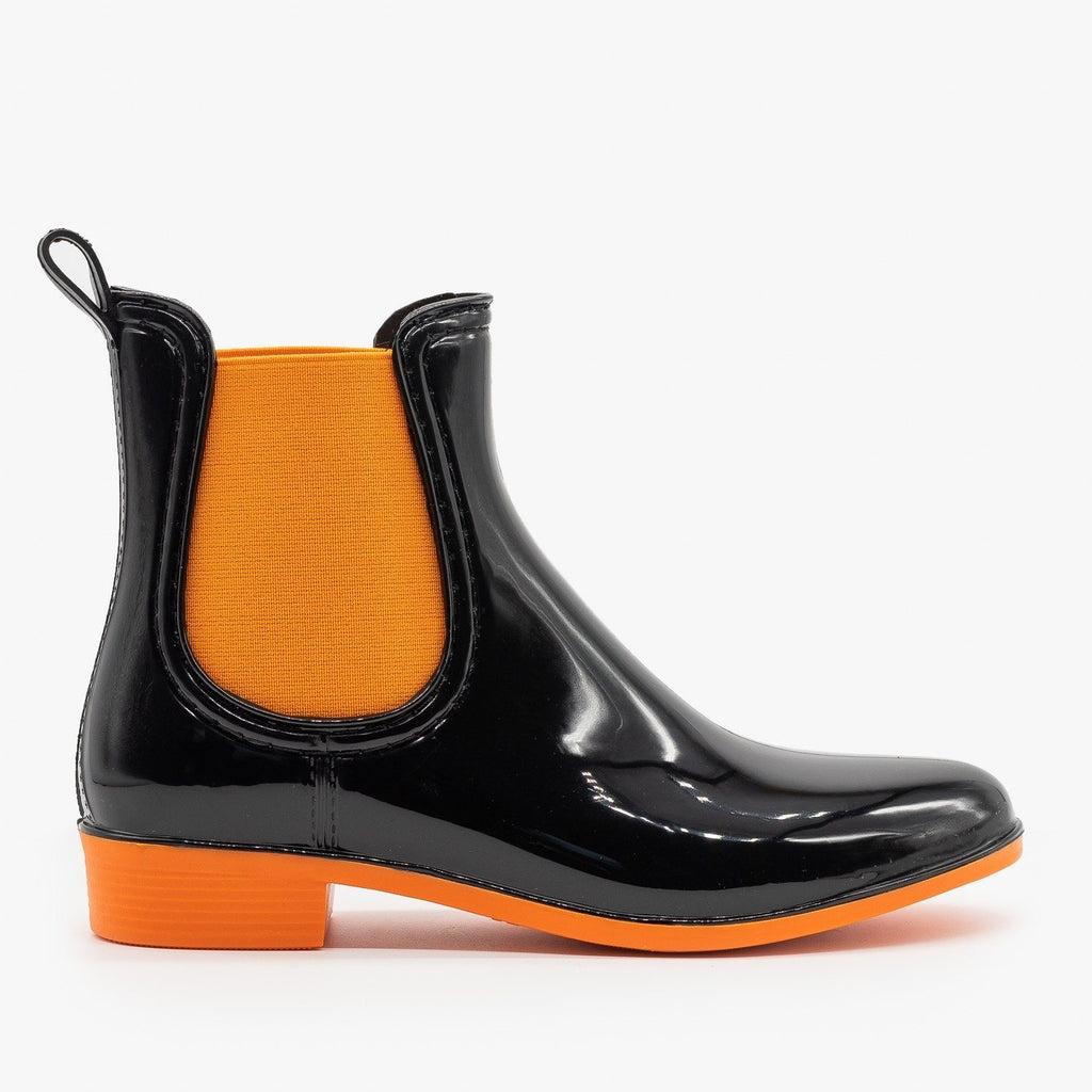 Womens Neon Accent Chelsea Rain Boots - Forever - Orange / 5