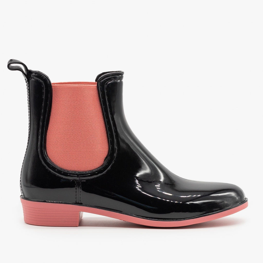 Womens Neon Accent Chelsea Rain Boots - Forever - Pink / 5