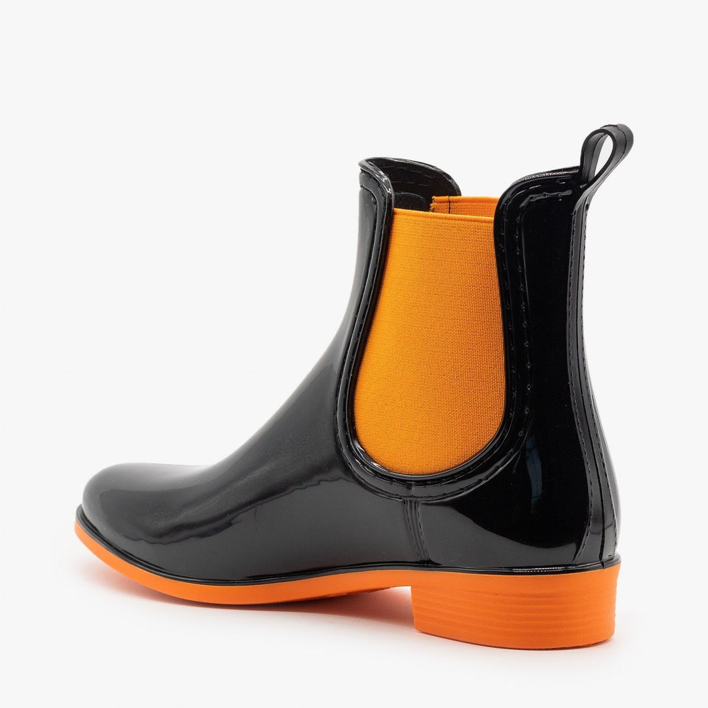 Womens Neon Accent Chelsea Rain Boots - Forever