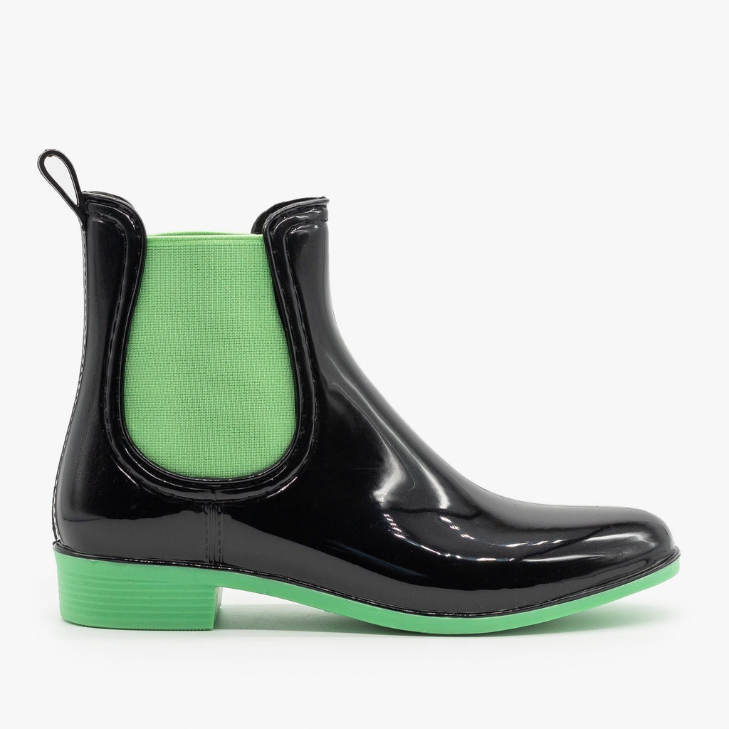 Womens Neon Accent Chelsea Rain Boots - Forever - Green / 5