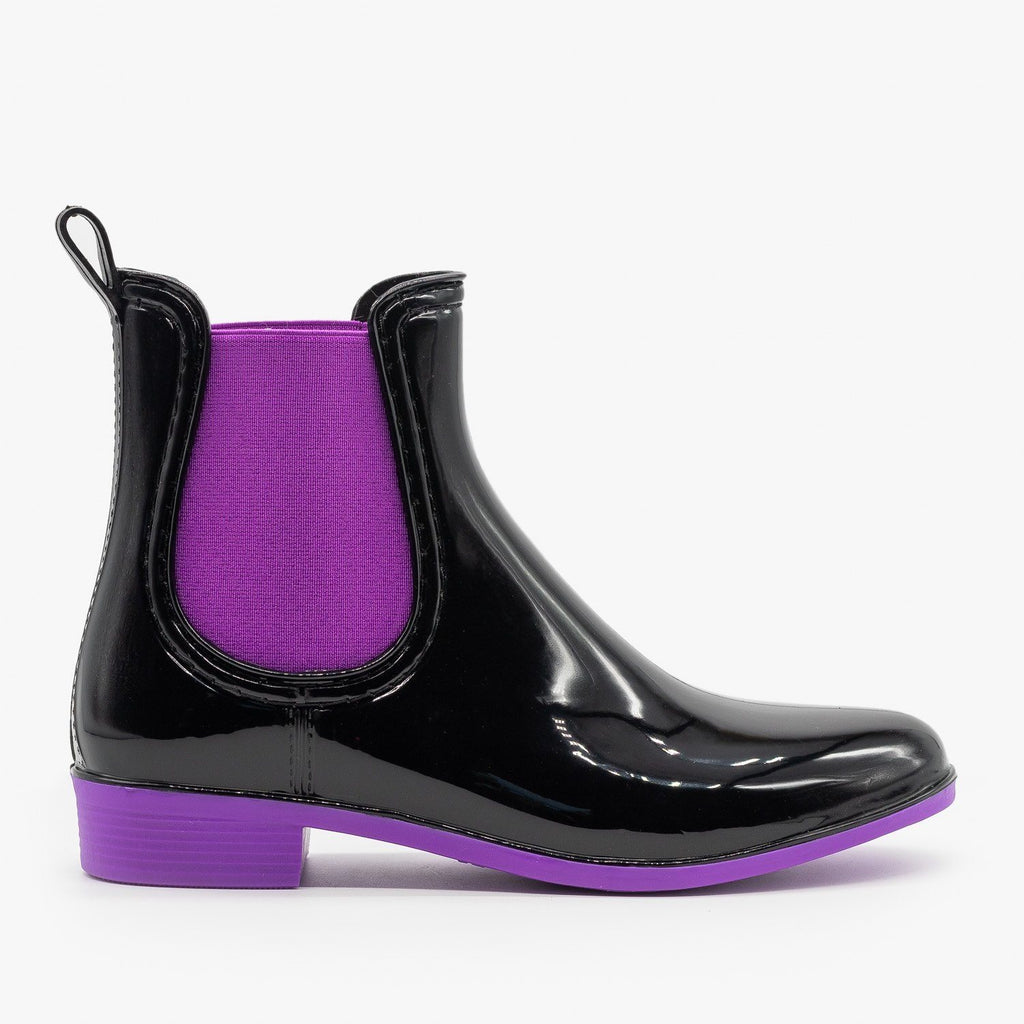 Womens Neon Accent Chelsea Rain Boots - Forever - Purple / 5
