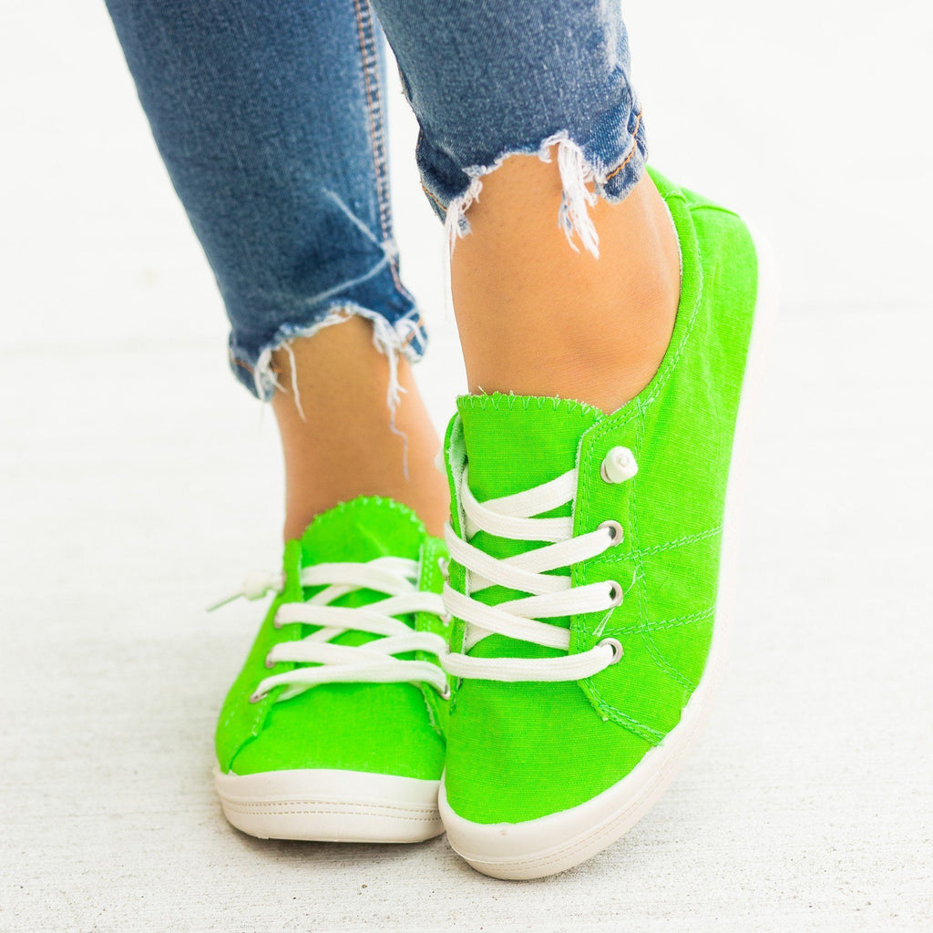 Womens Neon Comfort Canvas Fashion Sneakers - Forever