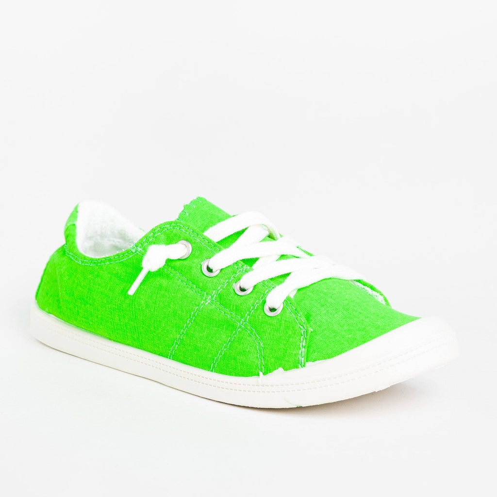 Womens Neon Comfort Canvas Fashion Sneakers - Forever - Neon Green / 5