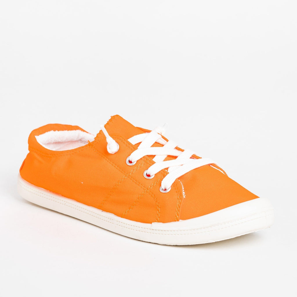 Womens Neon Comfort Canvas Fashion Sneakers - Forever - Neon Orange / 5