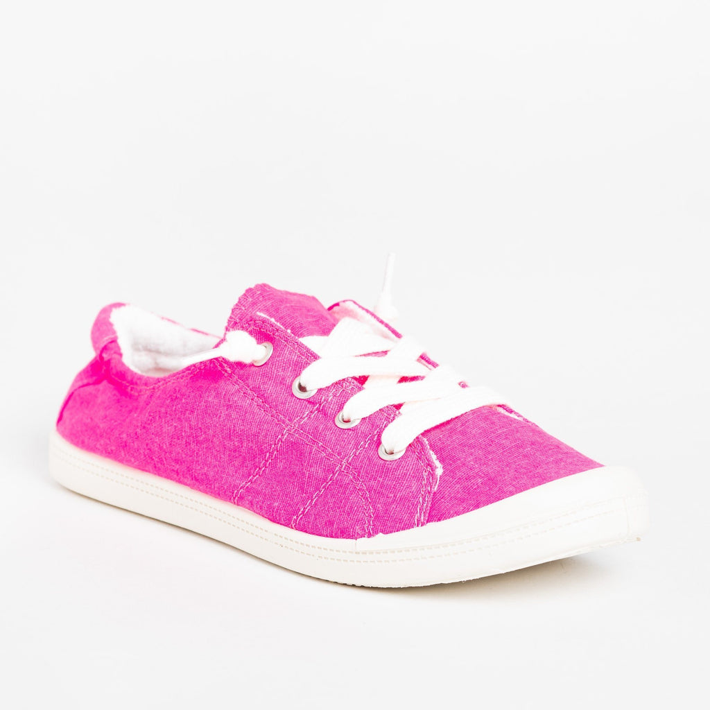 Womens Neon Comfort Canvas Fashion Sneakers - Forever - Neon Fuchsia / 5