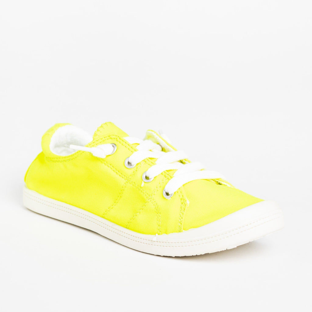 Womens Neon Comfort Canvas Fashion Sneakers - Forever - Neon Yellow / 5