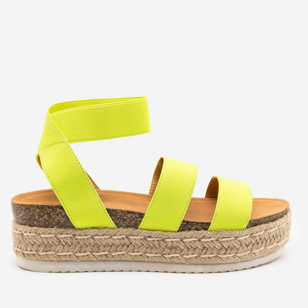 Women's Neon Elastic Cork Espadrille Flatforms - Anna Shoes - Neon Yellow / 5