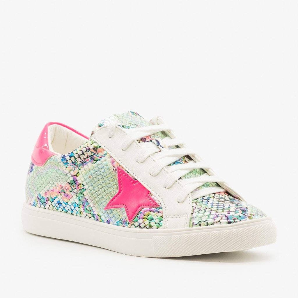 Womens Neon Iridescent Snake Fashion Sneakers - Nature Breeze