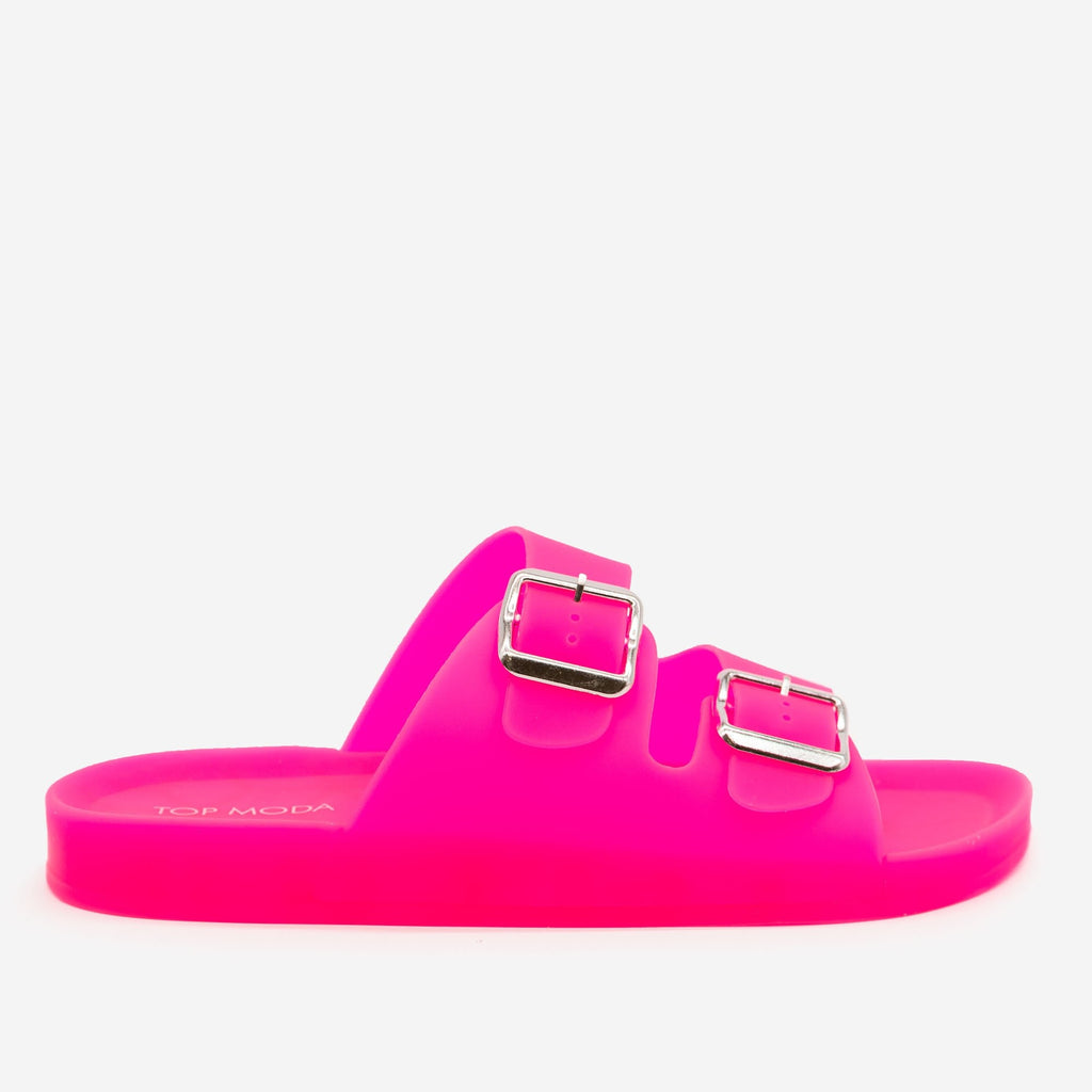 Women's Neon Jelly Slides - Top Moda - Neon Pink / 5