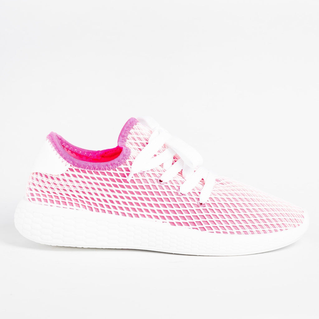 Womens Neon Mesh Athletic Sneakers - Qupid Shoes - Fuschia / 5