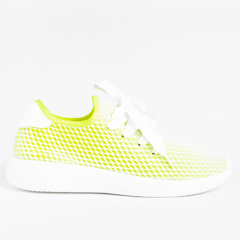 Womens Neon Mesh Athletic Sneakers - Qupid Shoes - Neon Yellow / 5