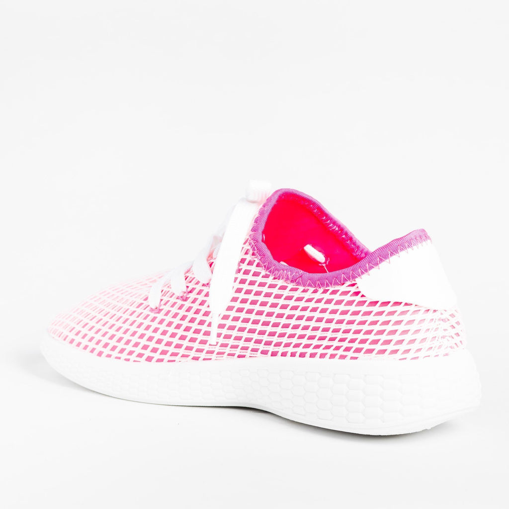 Womens Neon Mesh Athletic Sneakers - Qupid Shoes