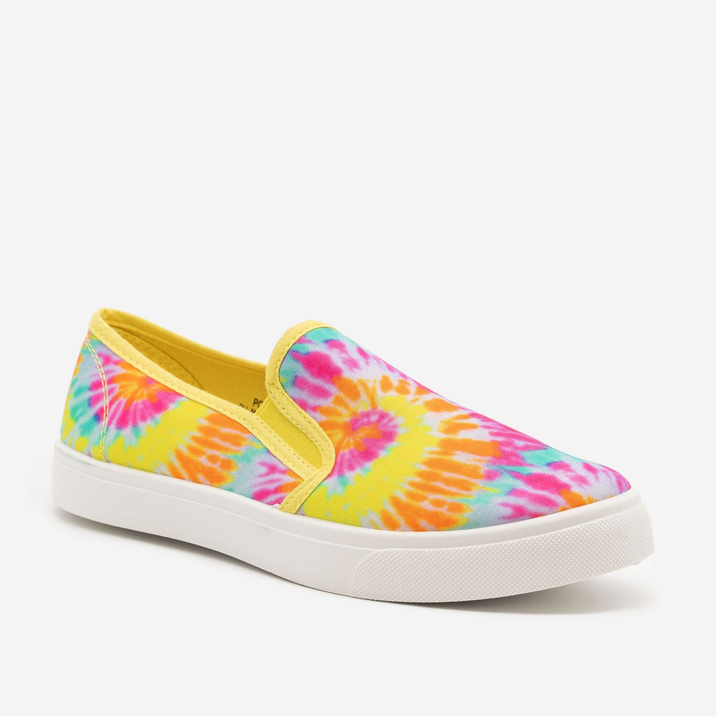 Women's Neon Tie Dye Canvas Sneakers - Bamboo Shoes