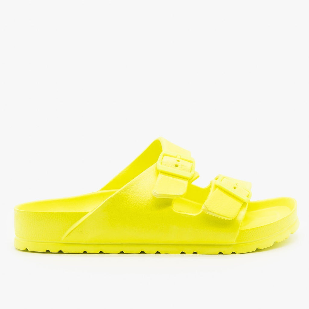 Womens Neon VSCO Girl Comfy Slides - Qupid Shoes - Neon Yellow / 5