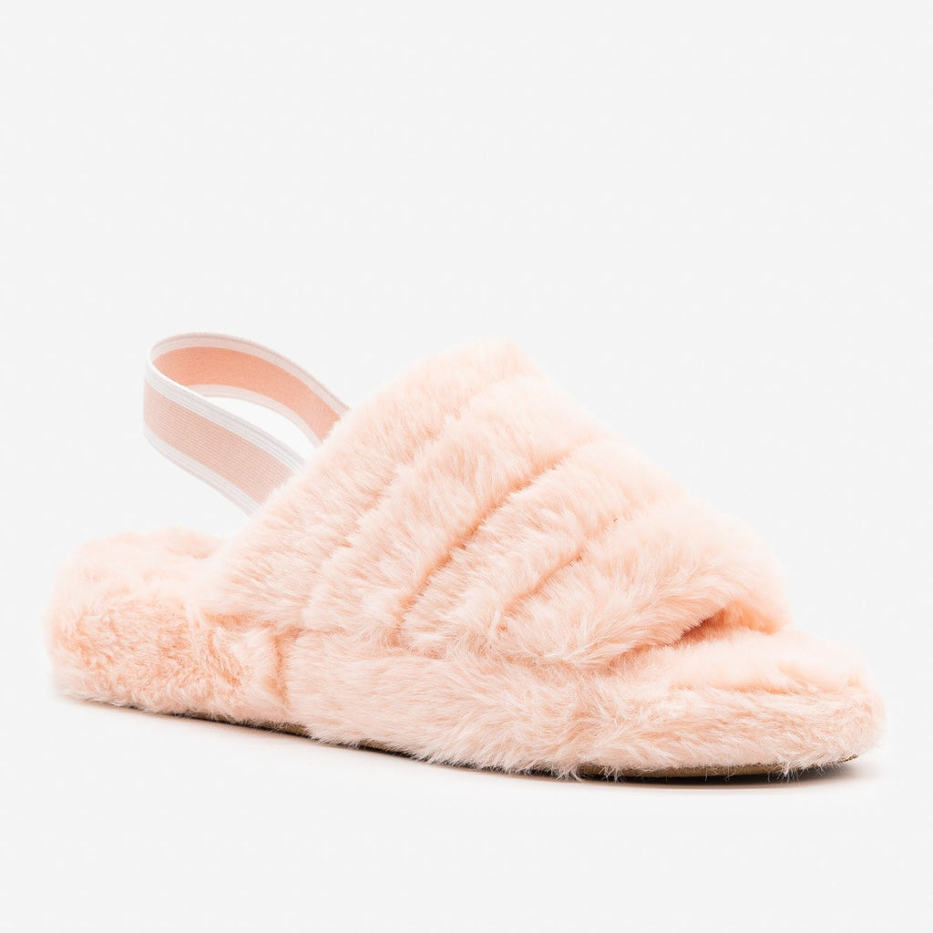 Women's Neutral Chic Faux Fur Slippers - Top Moda