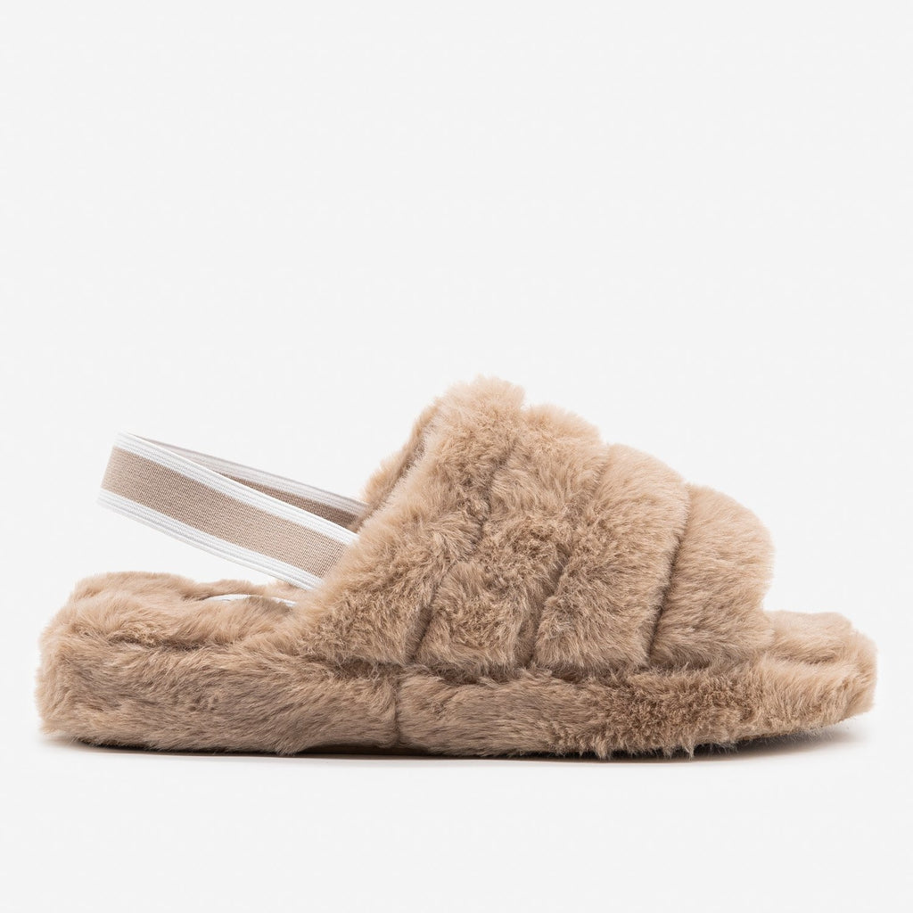 Women's Neutral Chic Faux Fur Slippers - Top Moda - Light Taupe / 5
