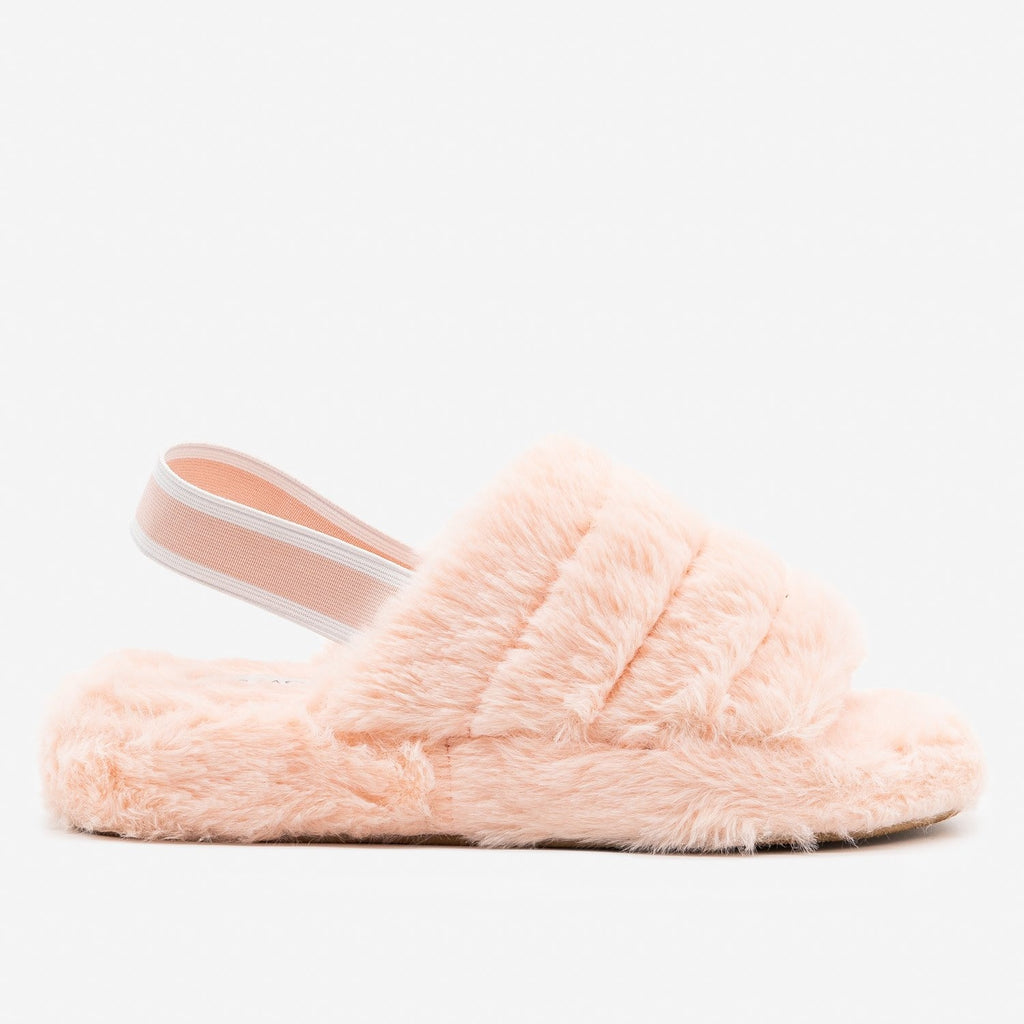 Women's Neutral Chic Faux Fur Slippers - Top Moda - Blush / 5