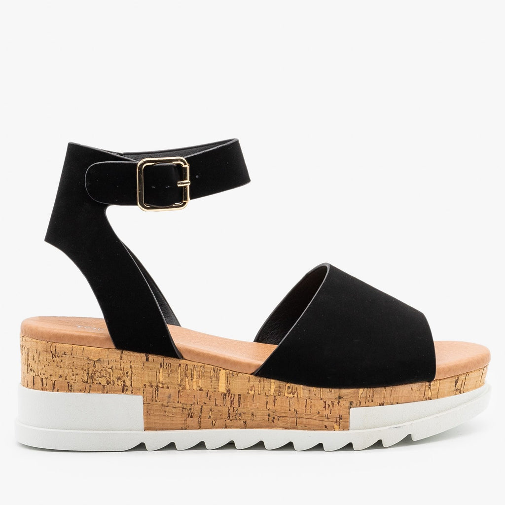 Womens Neutral Cork Wedge Sandals - Top Moda - Black / 5