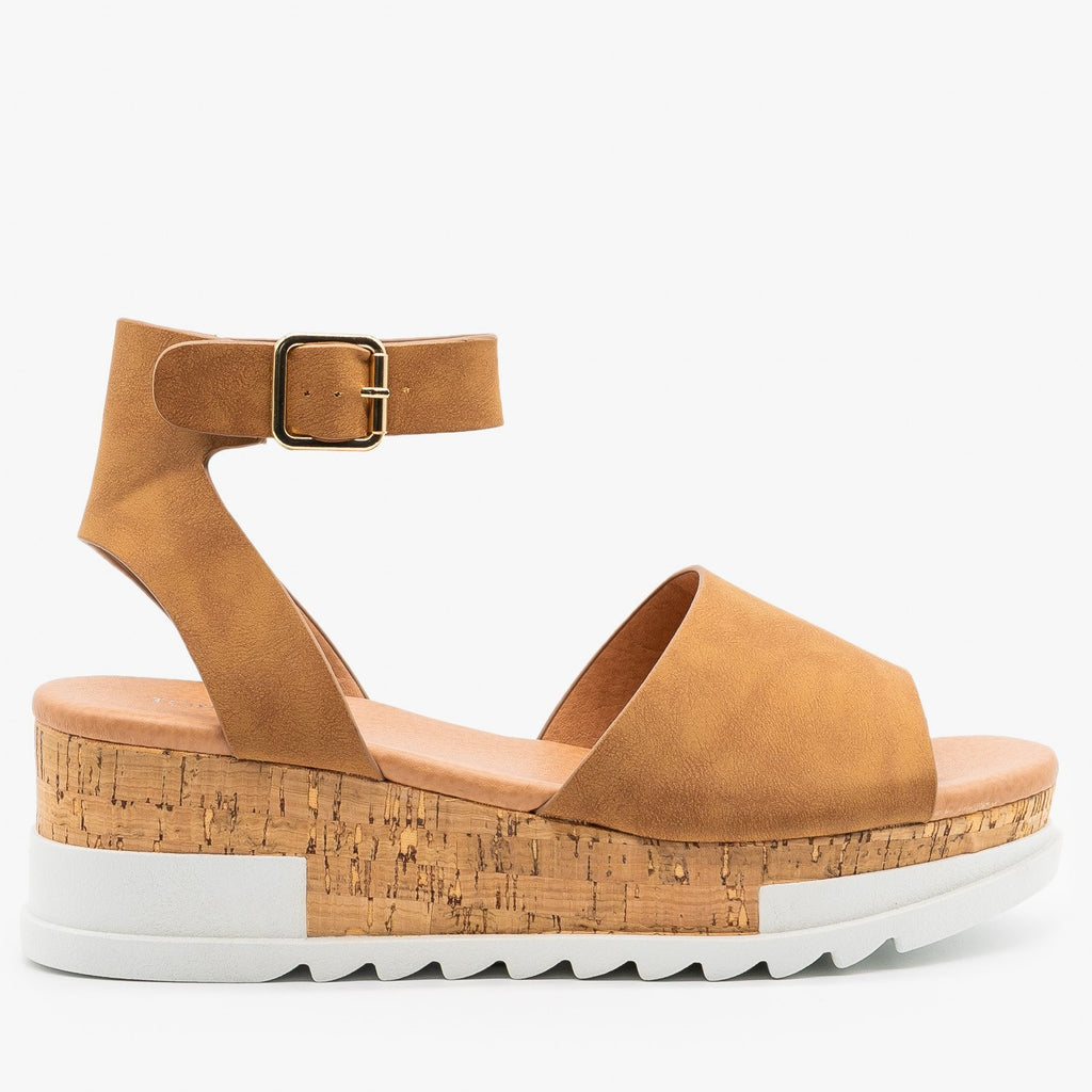 Womens Neutral Cork Wedge Sandals - Top Moda - Tan / 5
