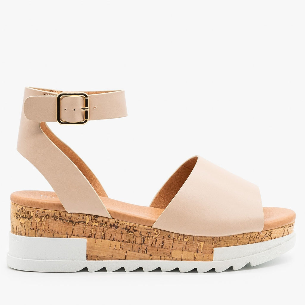 Womens Neutral Cork Wedge Sandals - Top Moda