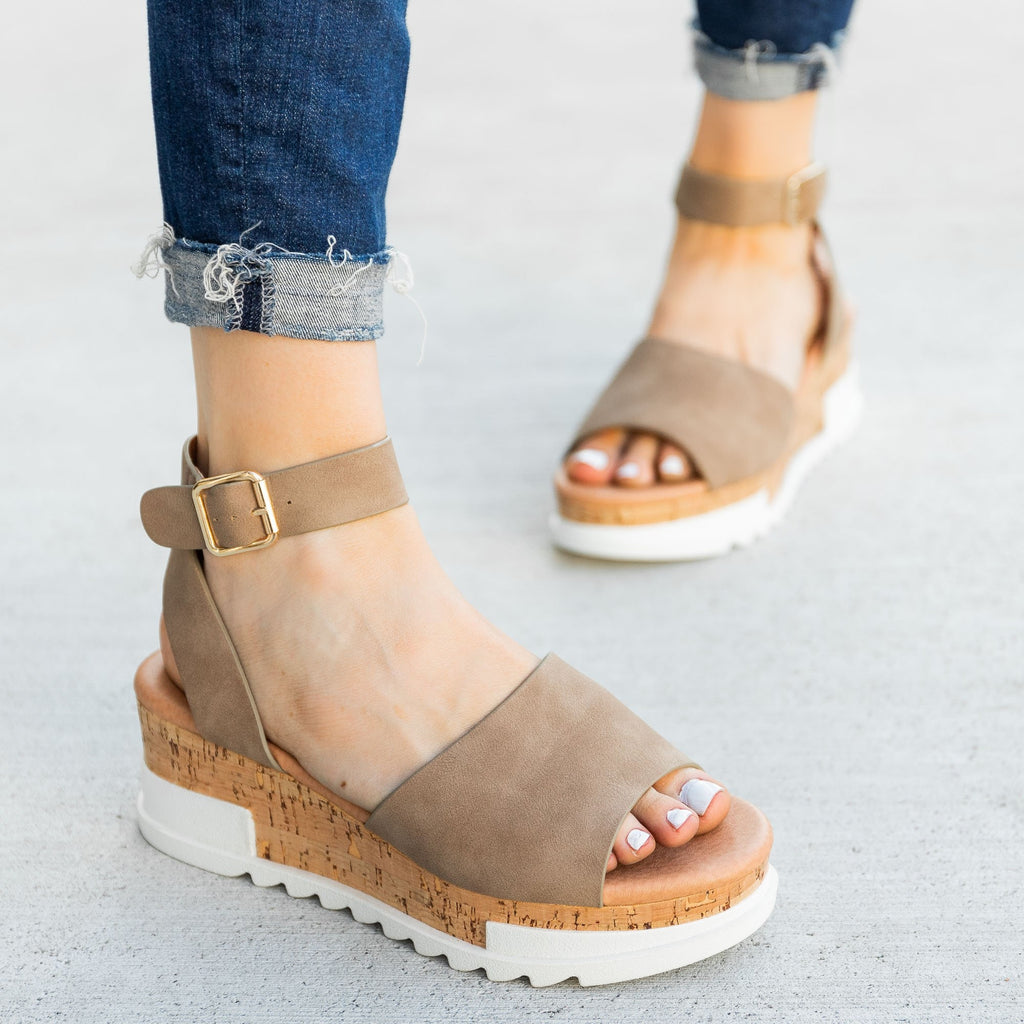 Women's Neutral Cork Wedge Sandals - Top Moda
