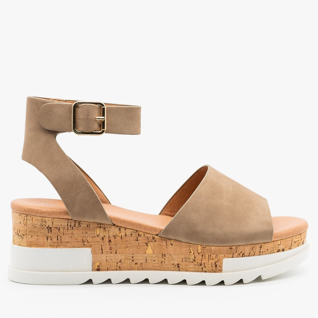 Womens Neutral Cork Wedge Sandals - Top Moda - Khaki / 5