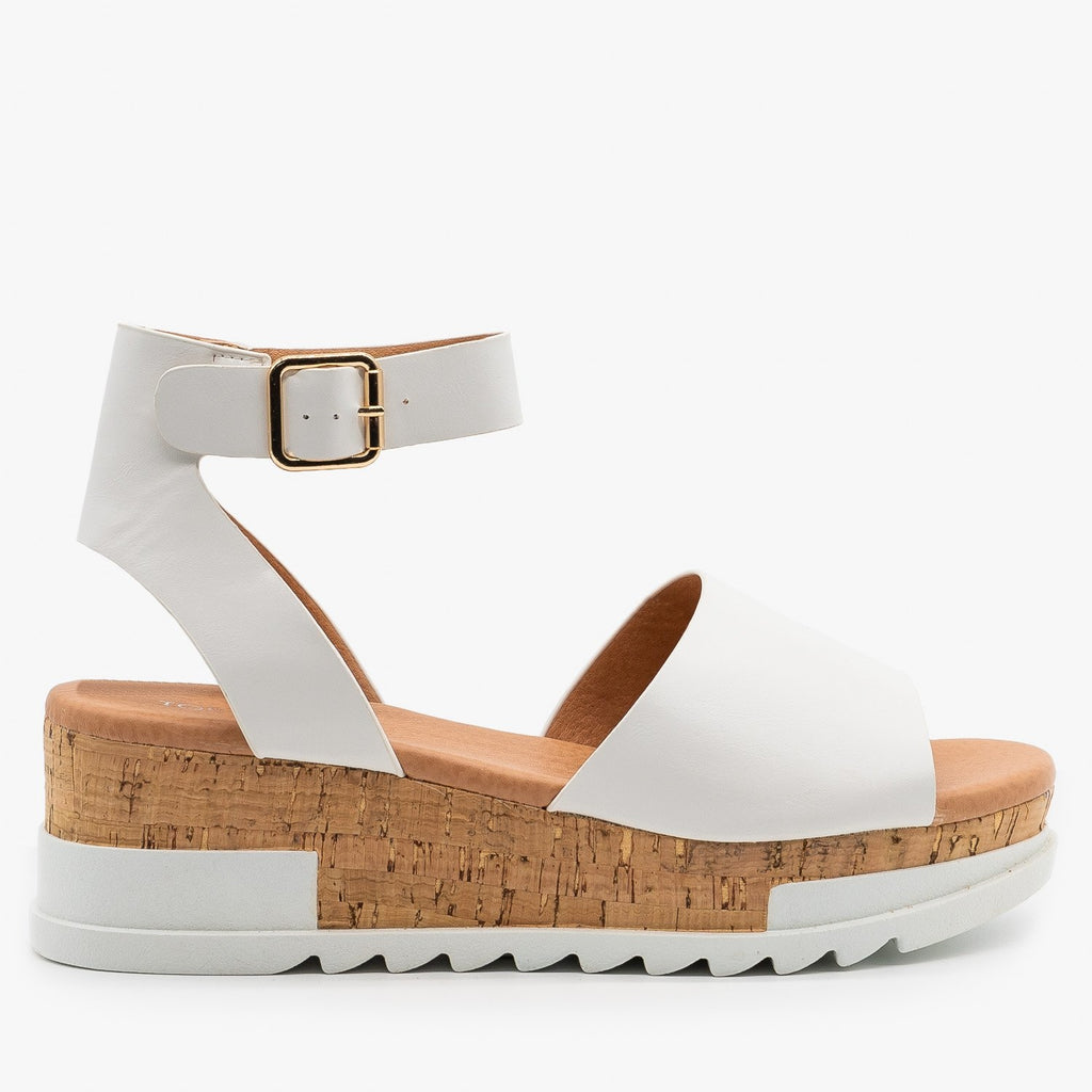 Womens Neutral Cork Wedge Sandals - Top Moda - White / 5