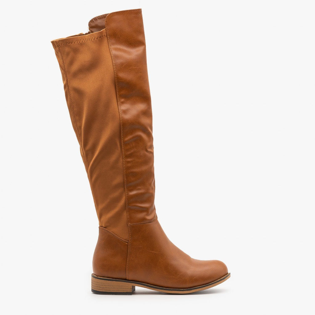 Womens Nylon Back Riding Boots - Glister - Tan / 5
