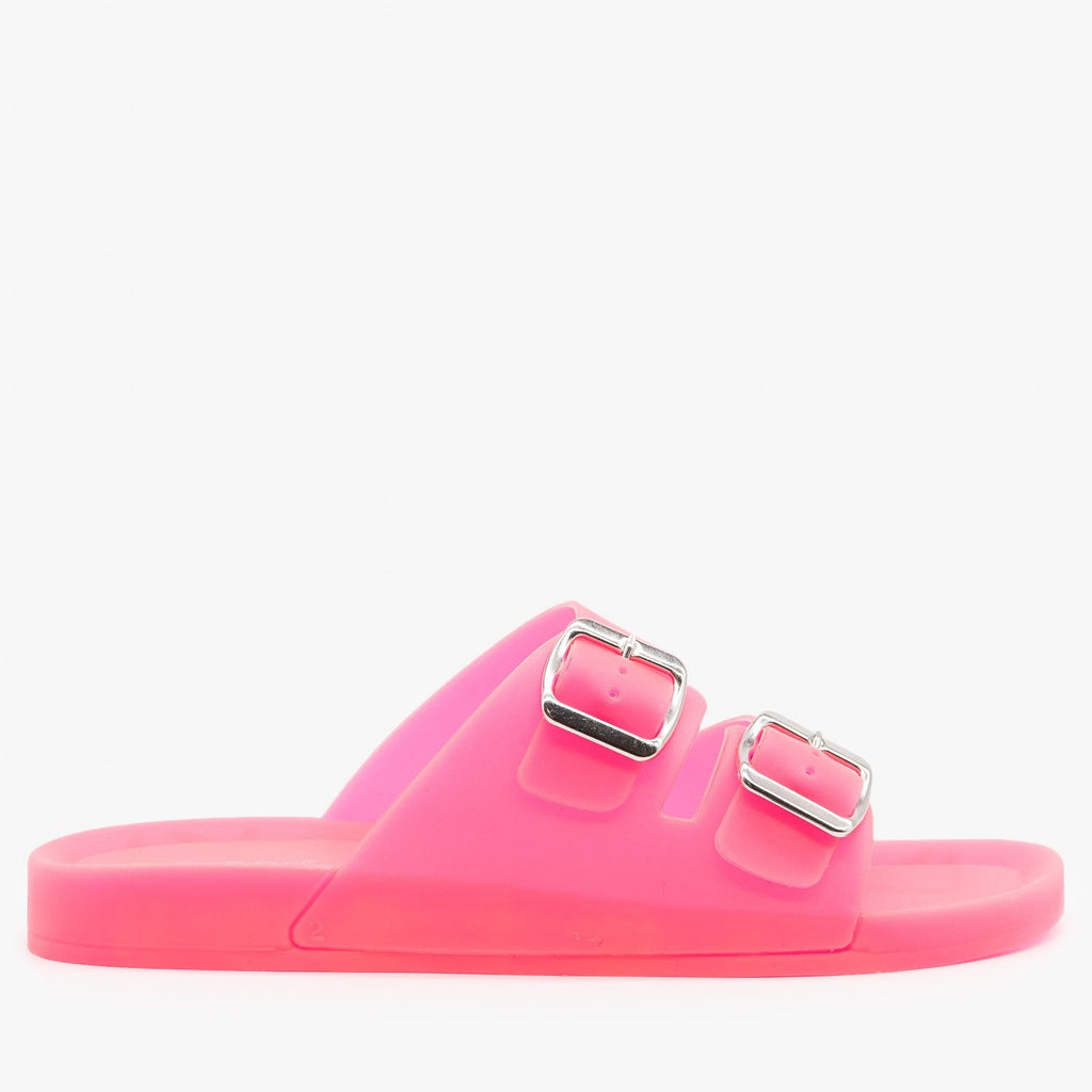 Womens Opaque Double Buckle Jelly Slides - Bamboo Shoes - Neon Pink / 5