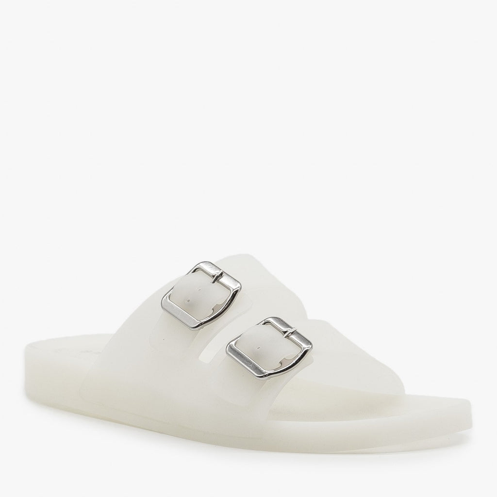 Womens Opaque Double Buckle Jelly Slides - Bamboo Shoes