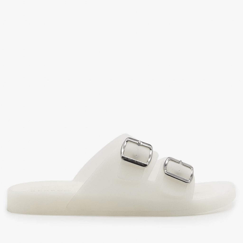 Womens Opaque Double Buckle Jelly Slides - Bamboo Shoes - White / 5