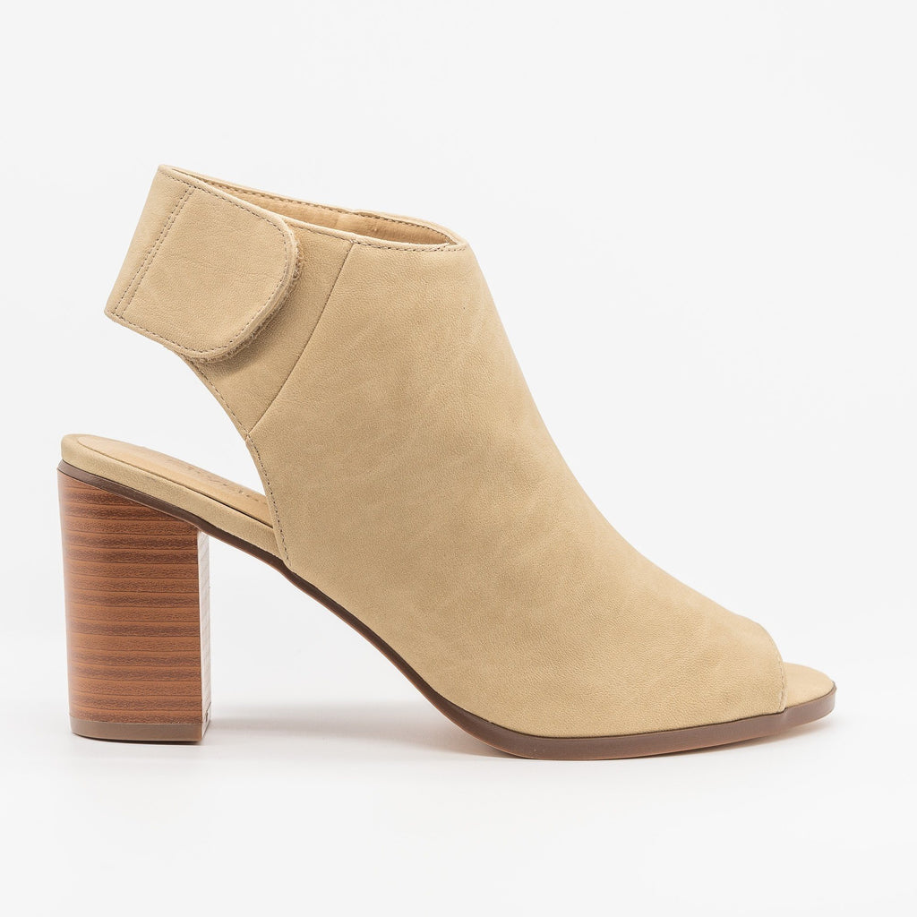 Womens Open-Toe Chunky Heel Booties - City Classified Shoes - Beige / 5