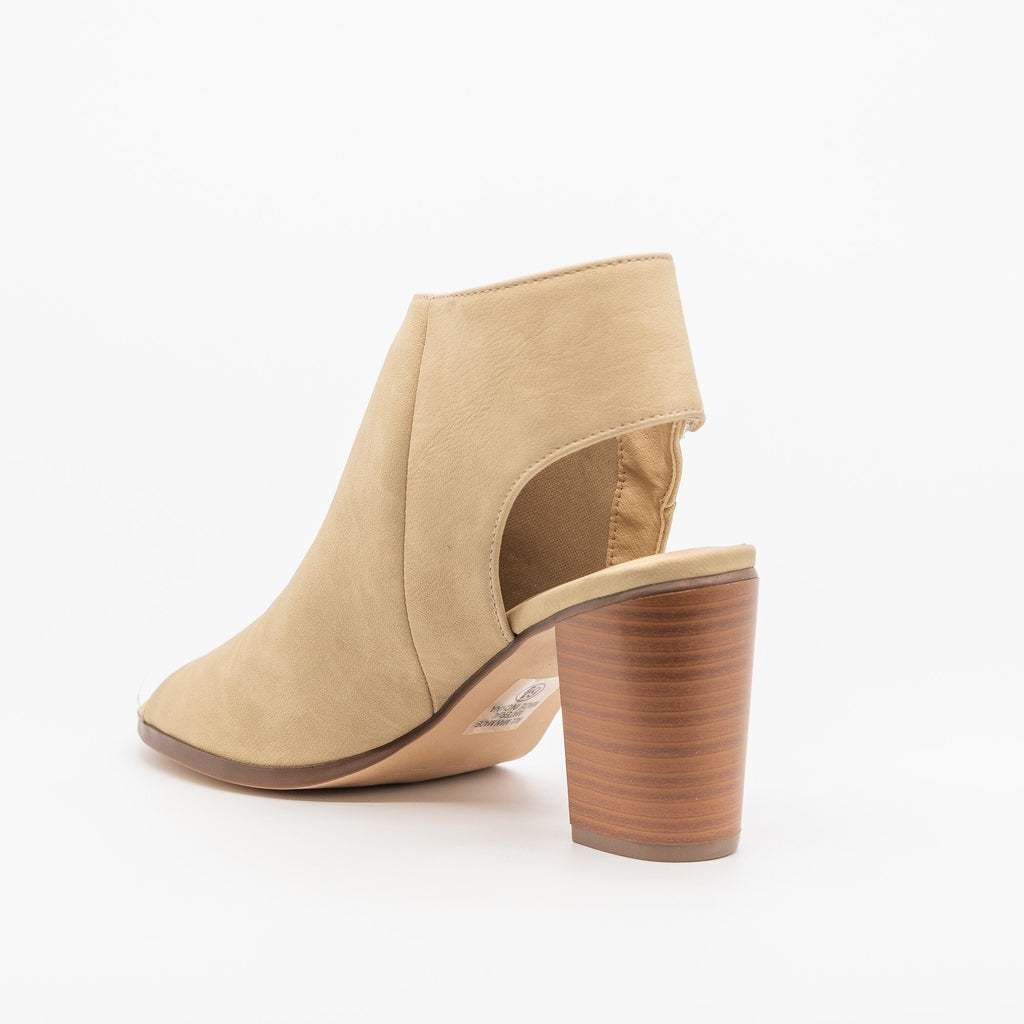 Womens Open-Toe Chunky Heel Booties - City Classified Shoes