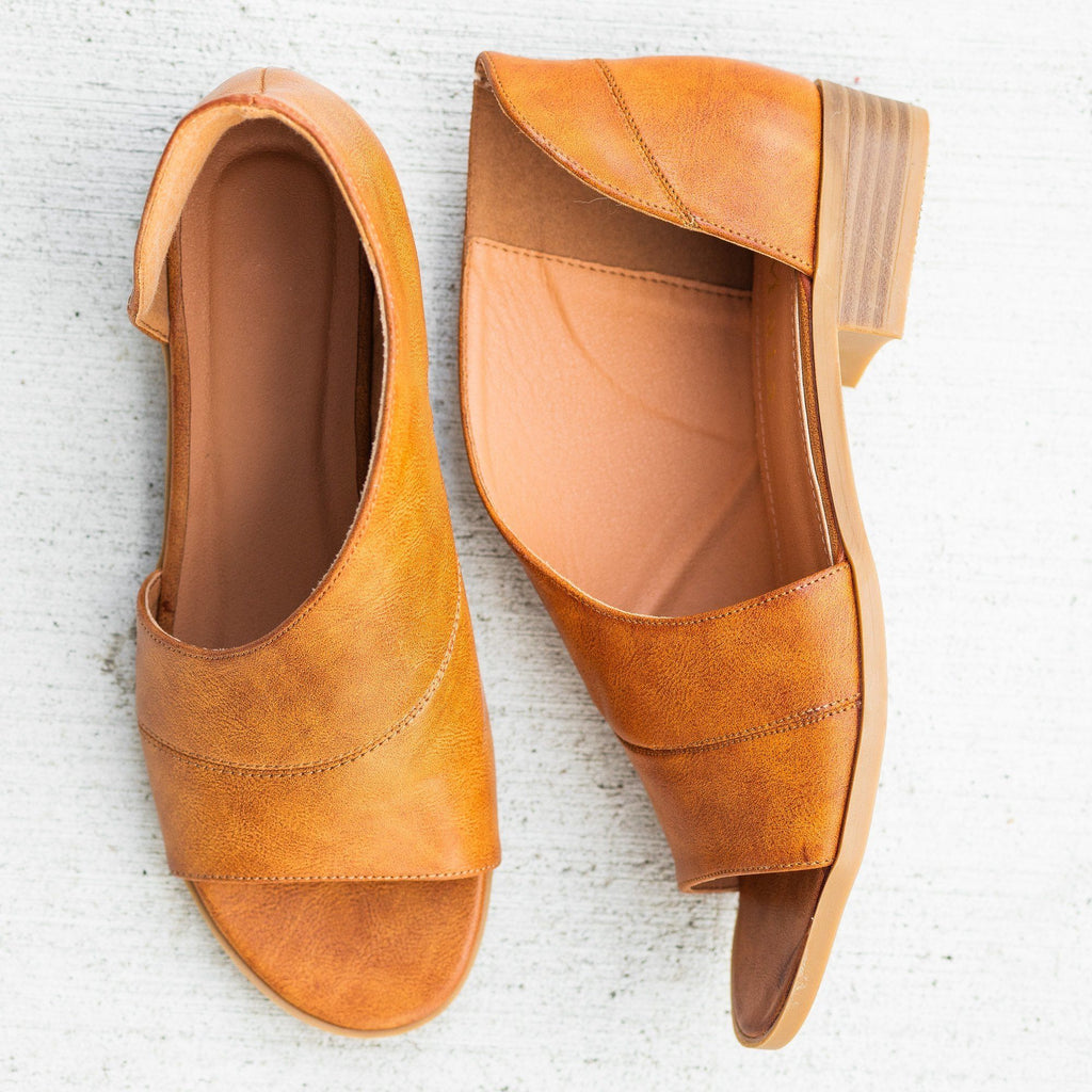 Womens Open-Toe Cutout Designer Flats - Mata - Tan / 5