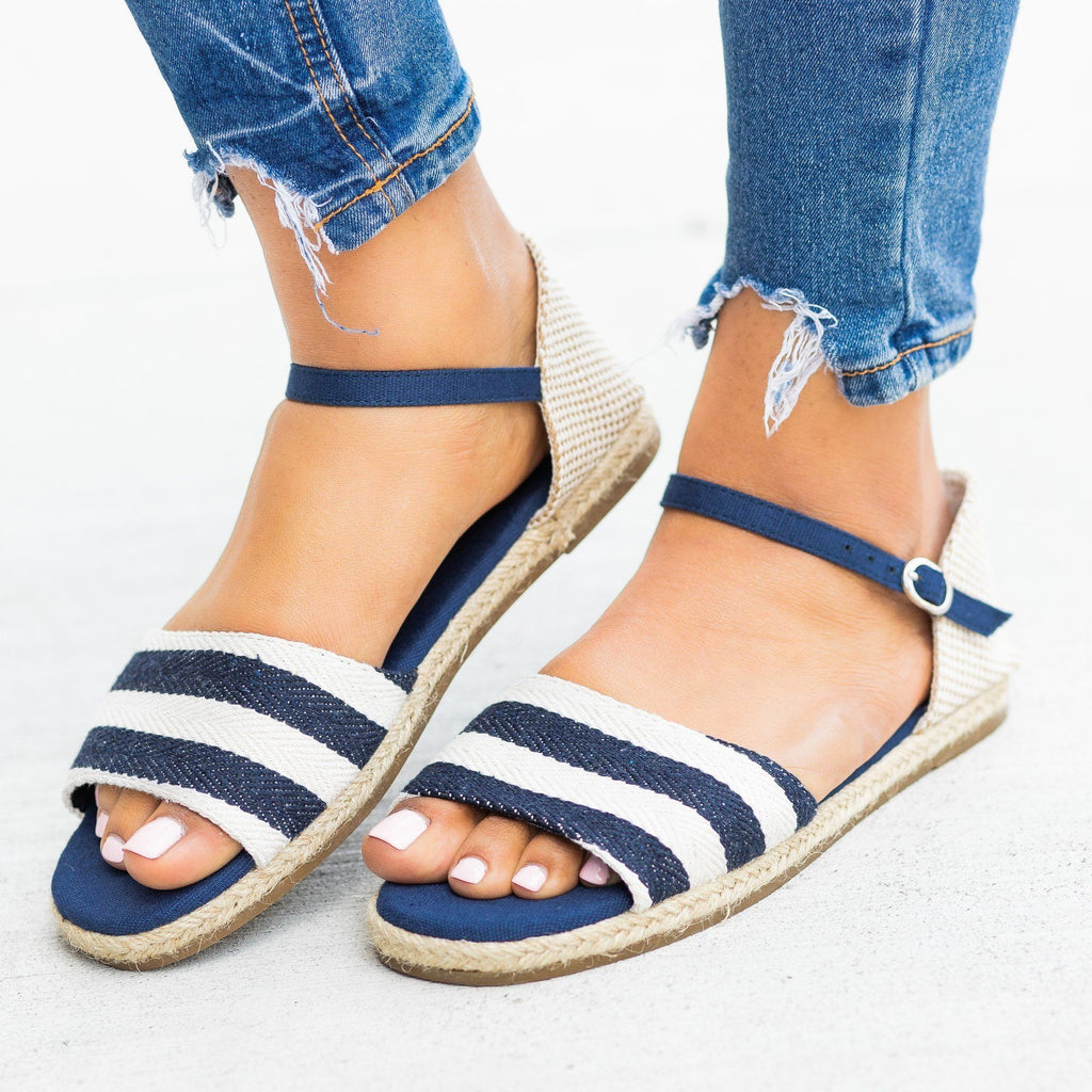 Womens Open-Toe dOrsay Espadrille Flats - Bamboo Shoes - Navy Stripe / 5