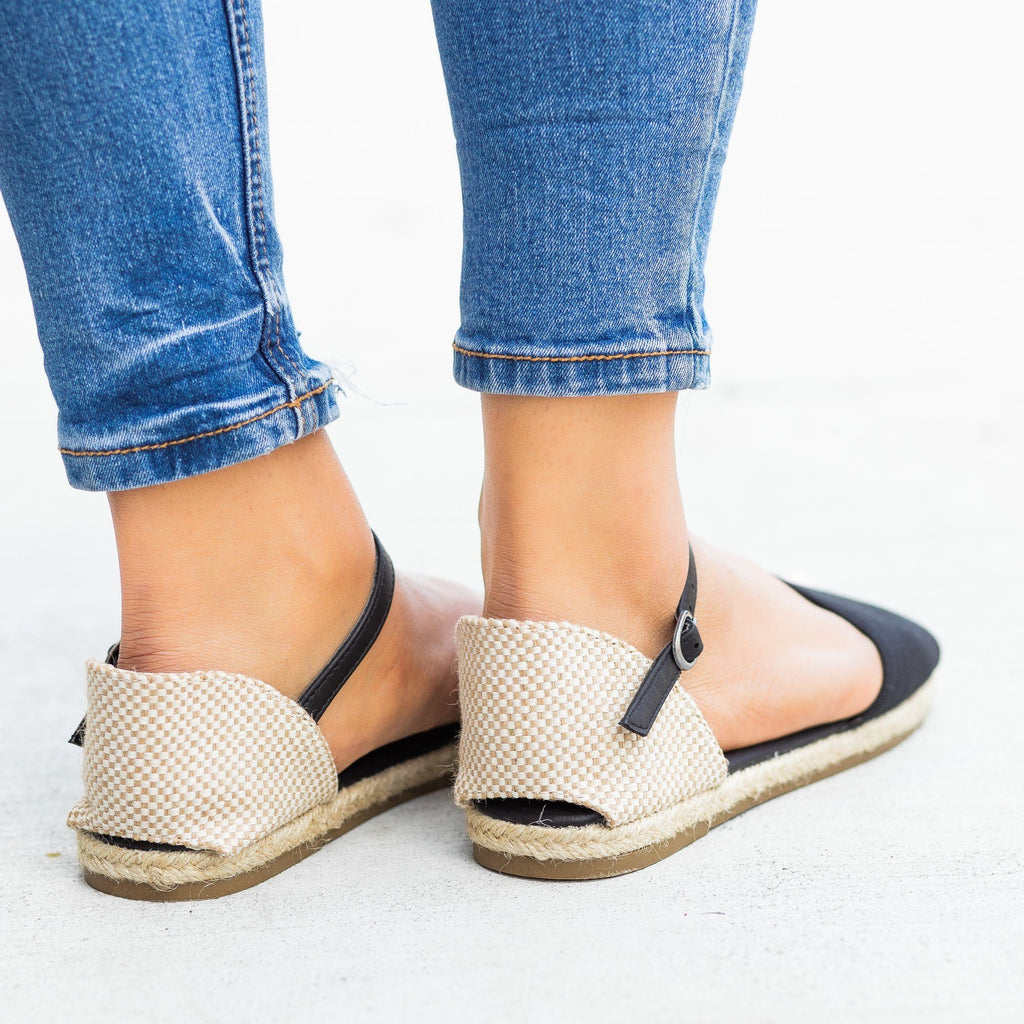 Womens Open-Toe dOrsay Espadrille Flats - Bamboo Shoes
