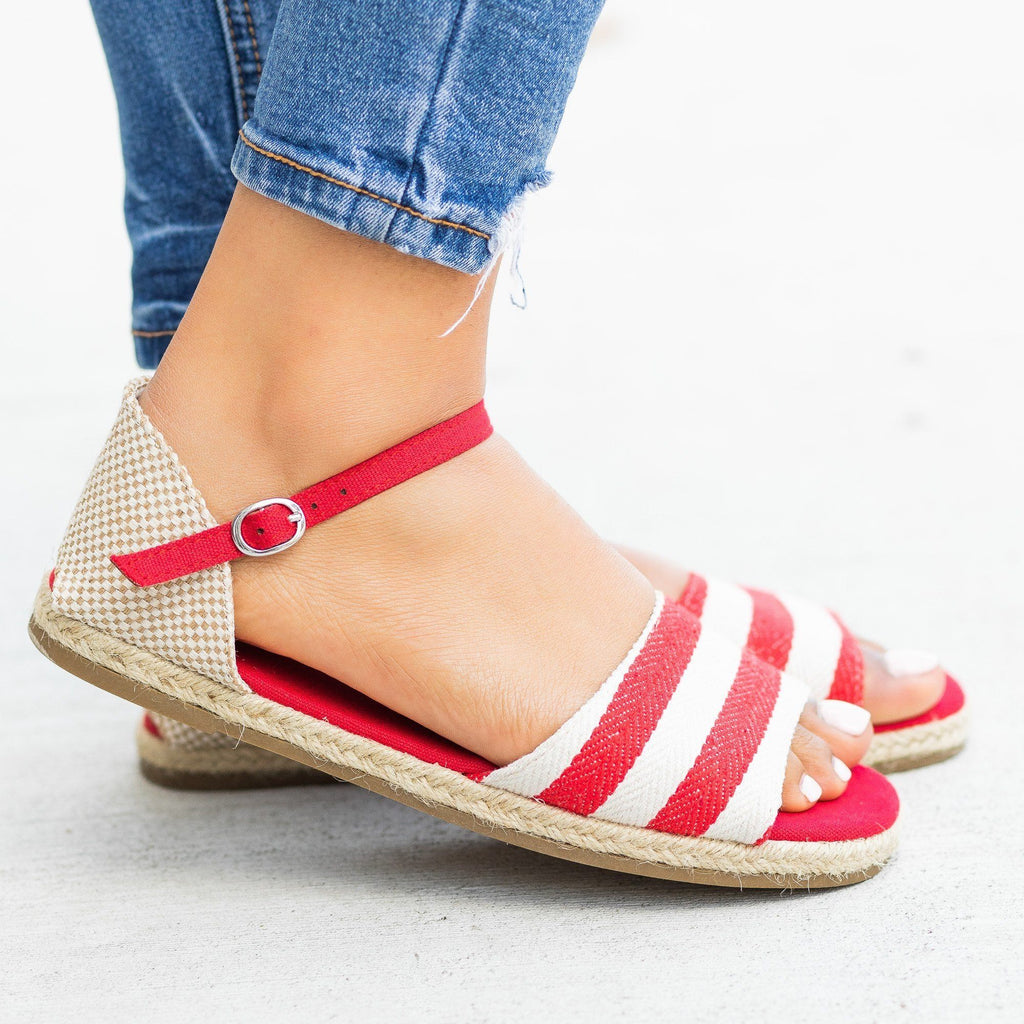 Womens Open-Toe dOrsay Espadrille Flats - Bamboo Shoes - Red Stripe / 5