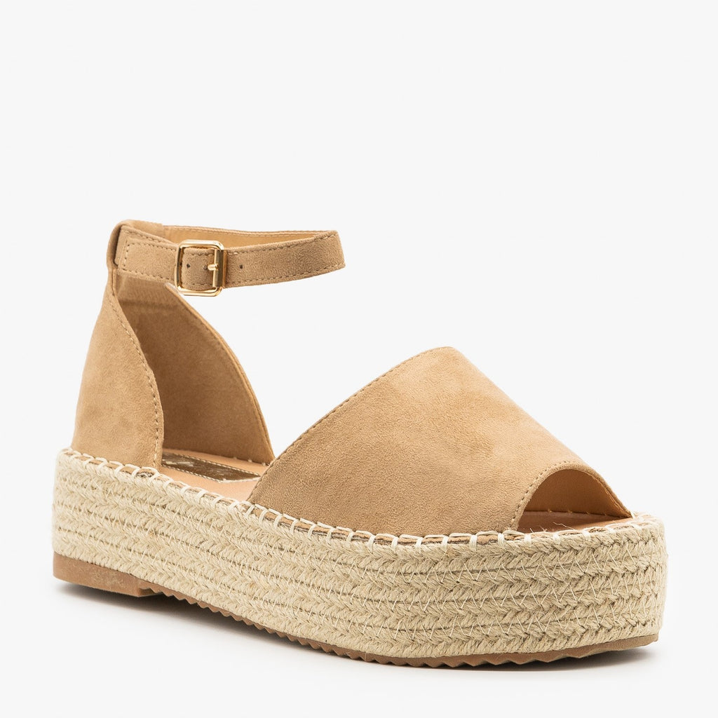 Womens Open-Toe Espadrille Flatform Sandals - Pazzle