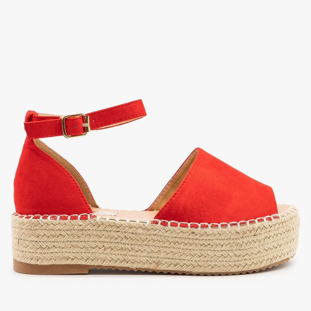 Womens Open-Toe Espadrille Flatform Sandals - Pazzle - Red / 5