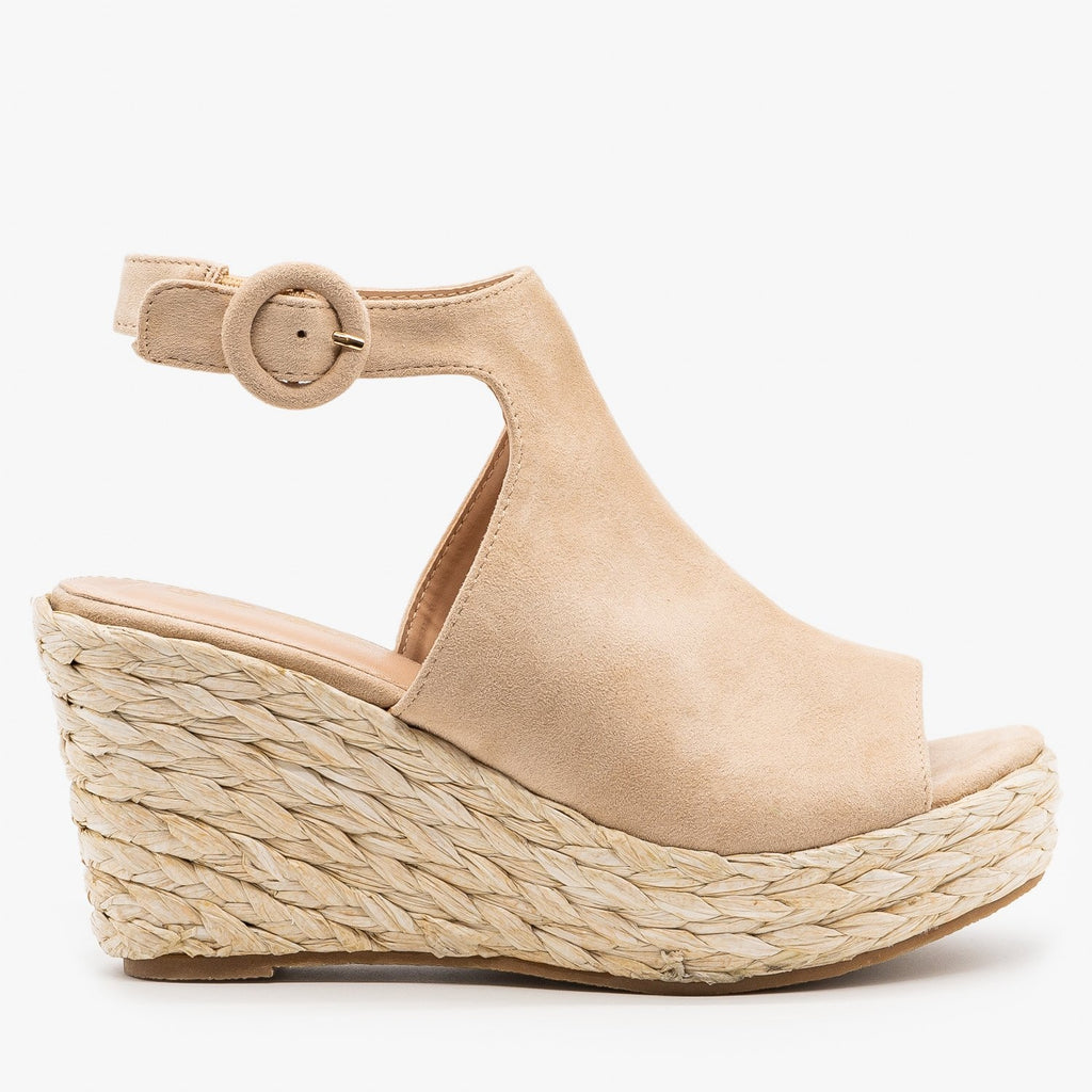 Womens Open Toe Espadrille Wedge Sandals - Mata - Taupe / 5