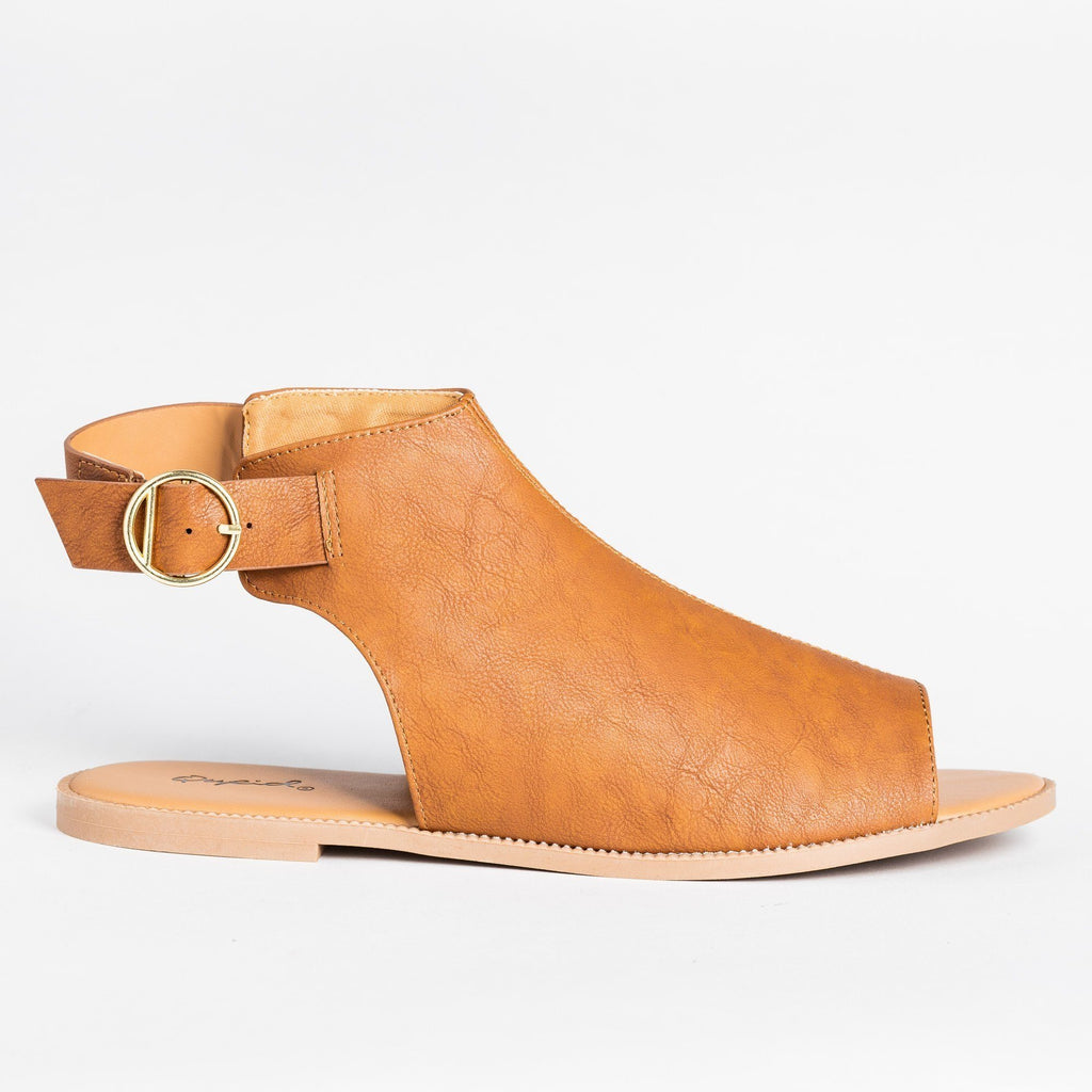 Womens Open-Toe Mule Sandals - Qupid Shoes - Camel / 5